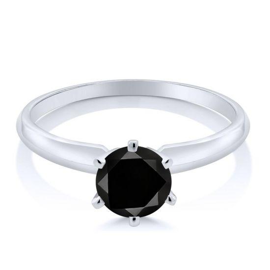Кольцо с черным бриллиантом 1 карат,  Больше Изображение 2
