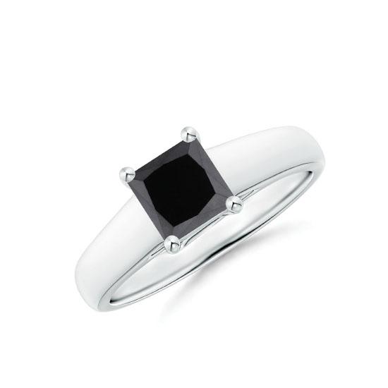 Кольцо с черным квадратным бриллиантом 1 карат, Больше Изображение 1