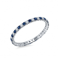 Кольцо дорожка с сапфирами и бриллиантами по кругу