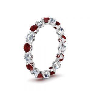 Кольцо дорожка с бриллиантами и рубинами