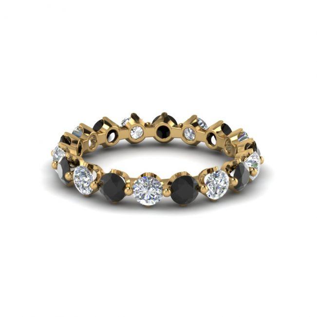 Кольцо дорожка с черными и белыми бриллиантами - Фото 1