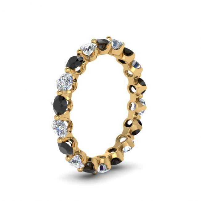 Кольцо дорожка с черными и белыми бриллиантами - Фото 2
