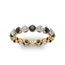 Кольцо дорожка с черными и белыми бриллиантами