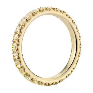 Кольцо дорожка с бледно-желтыми бриллиантами