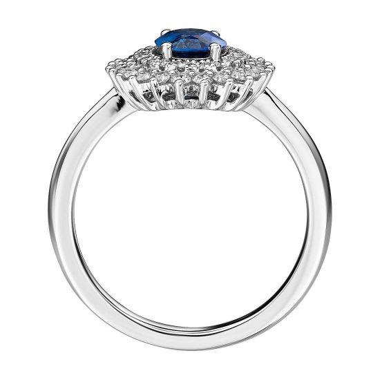 Кольцо с сапфиром и 2 рядами бриллиантов,  Больше Изображение 2