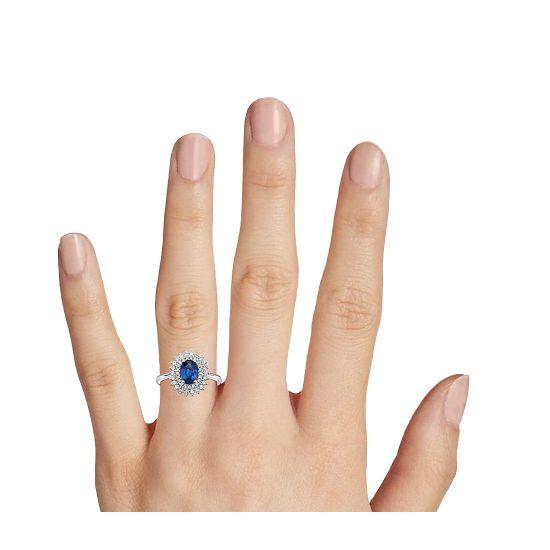 Кольцо с сапфиром и 2 рядами бриллиантов,  Больше Изображение 3