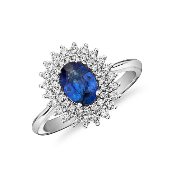Кольцо с сапфиром и 2 рядами бриллиантов, Больше Изображение 1