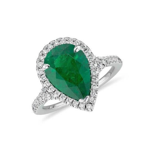 Кольцо с изумрудом в форме груши и бриллиантами, Больше Изображение 1