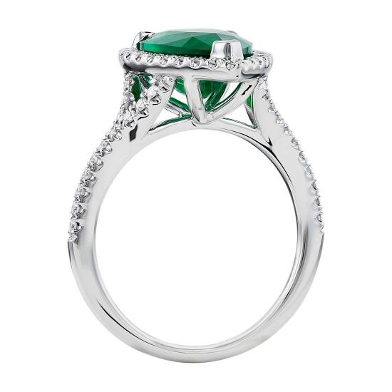 Кольцо с изумрудом в форме груши и бриллиантами,  Больше Изображение 2