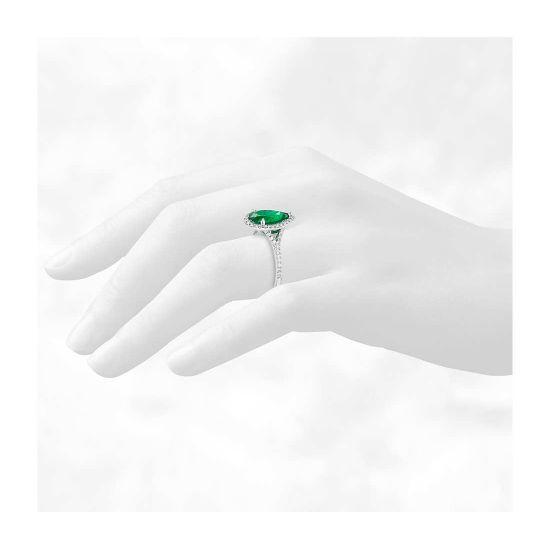 Кольцо с изумрудом в форме груши и бриллиантами,  Больше Изображение 3