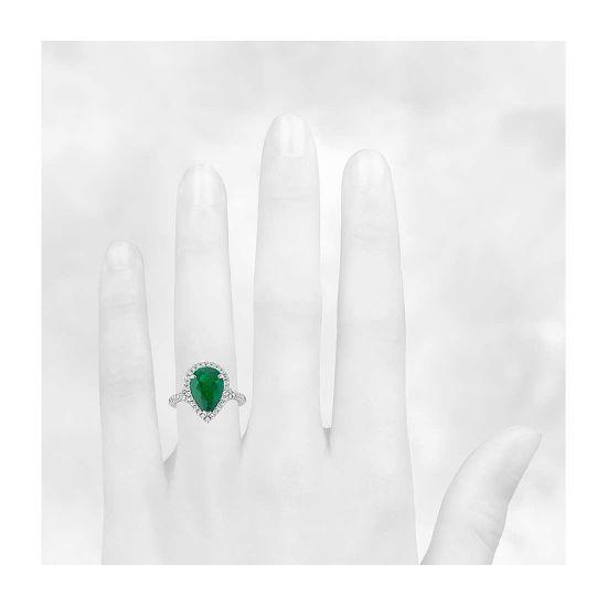 Кольцо с изумрудом в форме груши и бриллиантами,  Больше Изображение 4