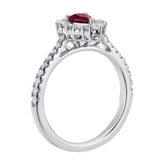 Кольцо с рубином и широким ореолом бриллиантов,  Больше Изображение 2