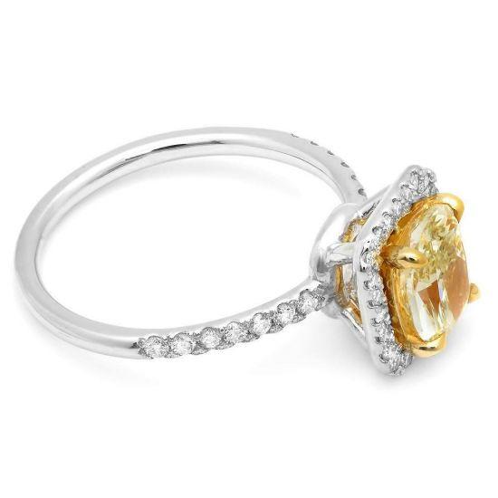 Кольцо с желтым бриллиантом 1.00 карат,  Больше Изображение 2