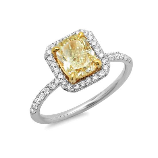 Кольцо с желтым бриллиантом 1.00 карат, Больше Изображение 1