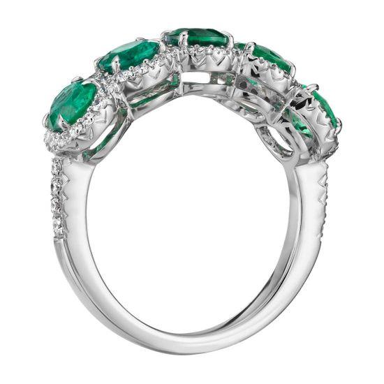 Кольцо с 5 изумрудами в бриллиантовых ореолах,  Больше Изображение 2