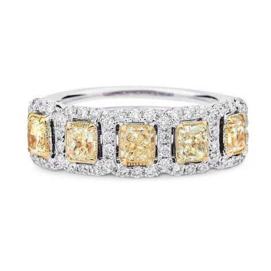 Кольцо с 5 желтыми бриллиантами,  Больше Изображение 2