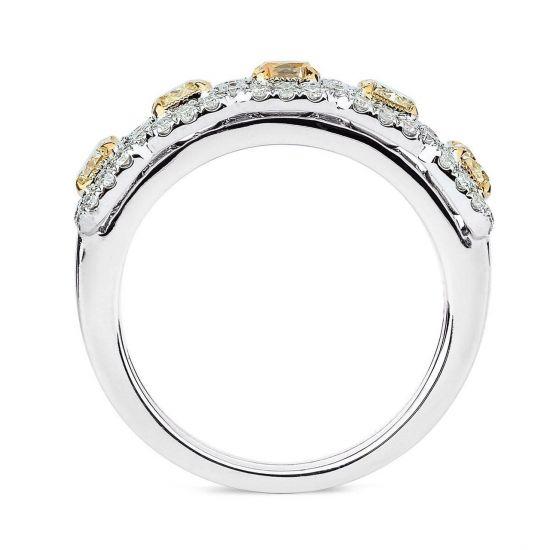 Кольцо с 5 желтыми бриллиантами,  Больше Изображение 3