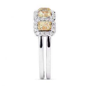 Кольцо с 5 желтыми бриллиантами