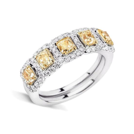 Кольцо с 5 желтыми бриллиантами, Больше Изображение 1