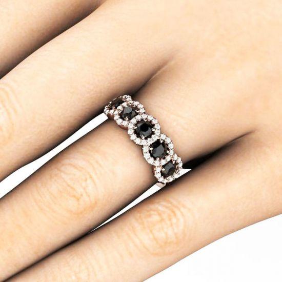 Кольцо с 5 черными бриллиантами,  Больше Изображение 4