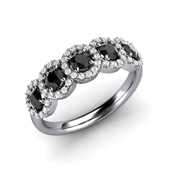 Кольцо с 5 черными бриллиантами, Больше Изображение 1