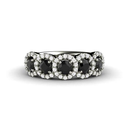 Кольцо с 5 черными бриллиантами,  Больше Изображение 2