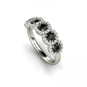 Кольцо с 5 черными бриллиантами