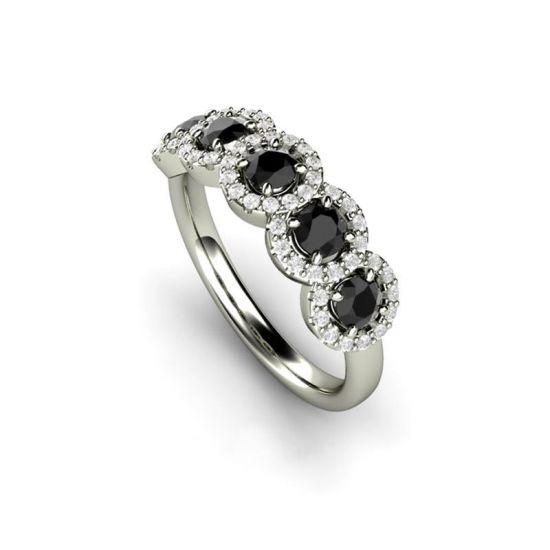 Кольцо с 5 черными бриллиантами,  Больше Изображение 3