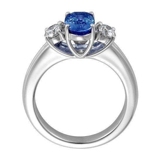 Кольцо с сапфиром и бриллиантами,  Больше Изображение 2
