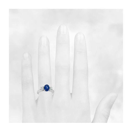 Кольцо с сапфиром и бриллиантами,  Больше Изображение 3
