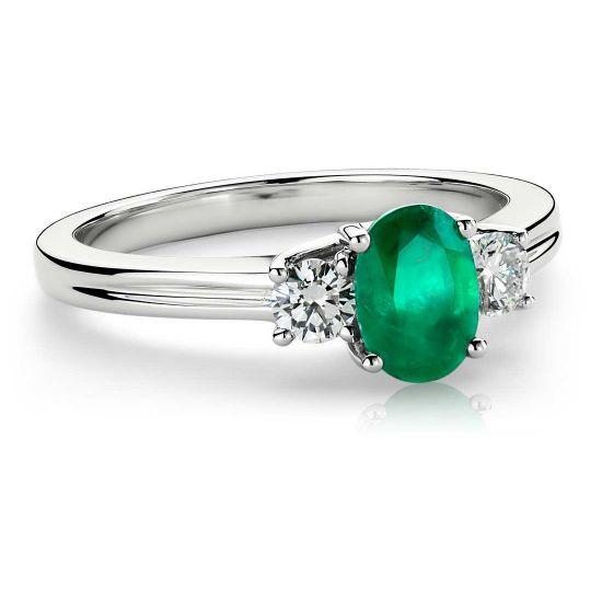 Кольцо с изумрудом и двумя бриллиантами,  Больше Изображение 2