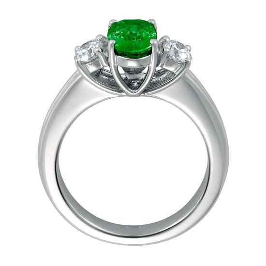 Кольцо с изумрудом и двумя бриллиантами,  Больше Изображение 3