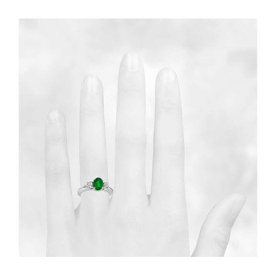 Кольцо с изумрудом и двумя бриллиантами,  Больше Изображение 4