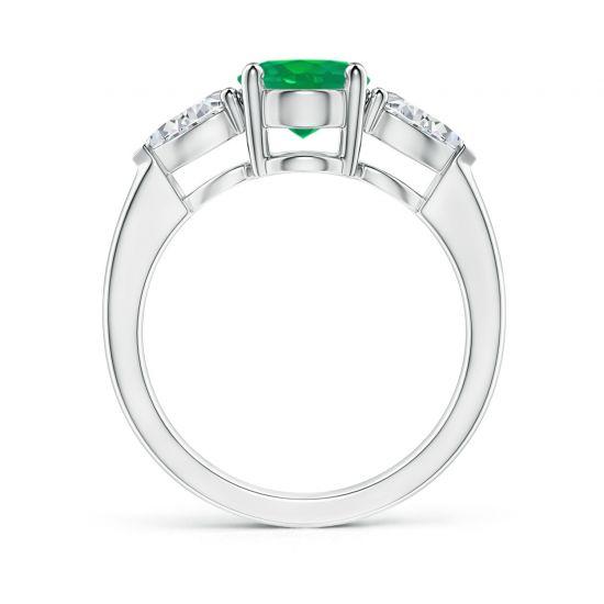 Кольцо с овальным изумрудом и бриллиантами груша по бокам,  Больше Изображение 2
