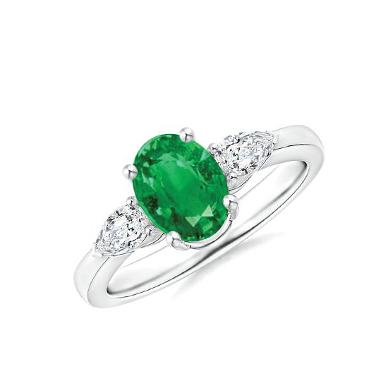 Кольцо с овальным изумрудом и бриллиантами груша по бокам, Больше Изображение 1