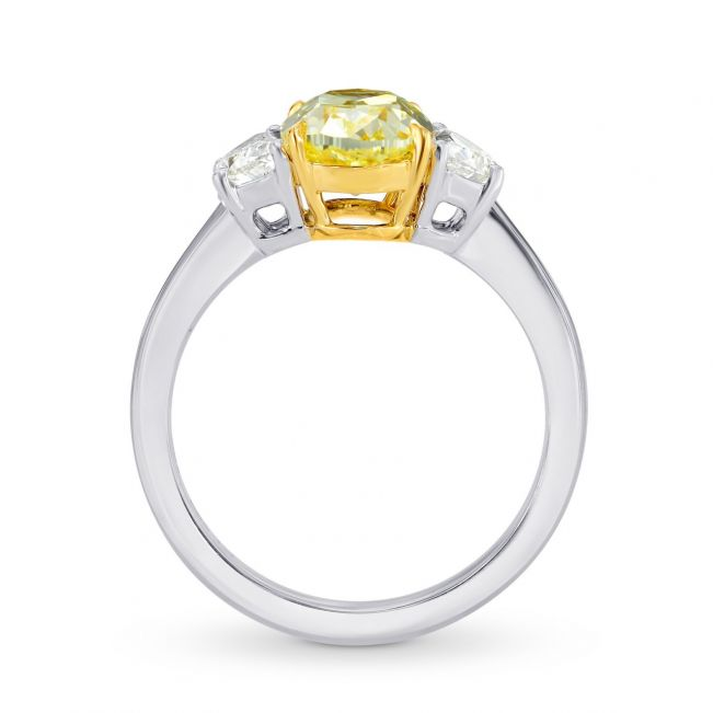 Кольцо с желтым и белыми бриллиантами
