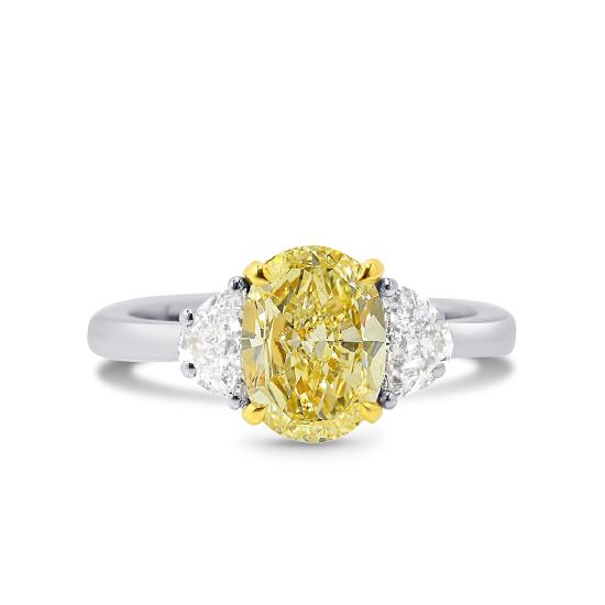 Кольцо с желтым и белыми бриллиантами, Больше Изображение 1