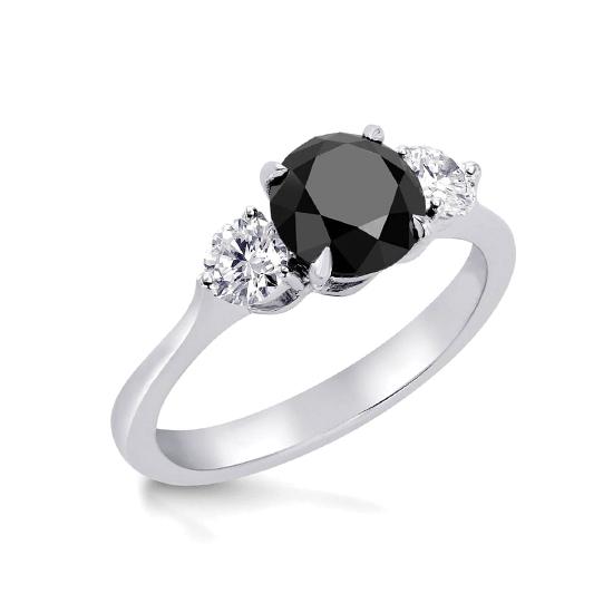 Кольцо с белым и черными бриллиантами, Больше Изображение 1