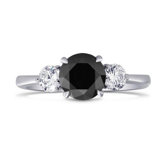 Кольцо с белым и черными бриллиантами,  Больше Изображение 2