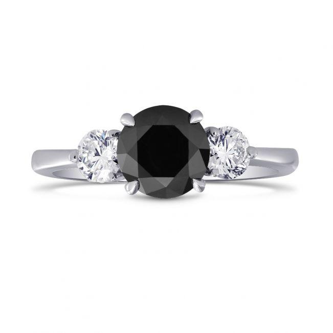 Кольцо с белым и черными бриллиантами
