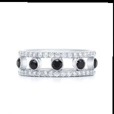 Широкое кольцо с белыми и черными бриллиантами