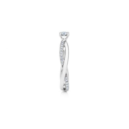 Кольцо с 1 бриллиантом и дорожкой Твист по бокам,  Больше Изображение 2
