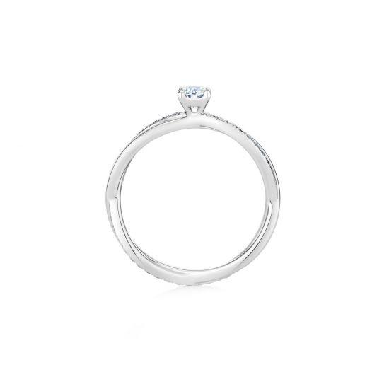 Кольцо с 1 бриллиантом и дорожкой Твист по бокам,  Больше Изображение 3