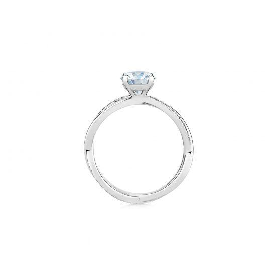 Кольцо с бриллиантом 0.5 карат и дорожкой Твист,  Больше Изображение 2