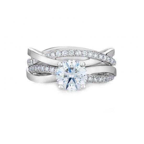Кольцо с бриллиантом 0.5 карат и дорожкой Твист,  Больше Изображение 4
