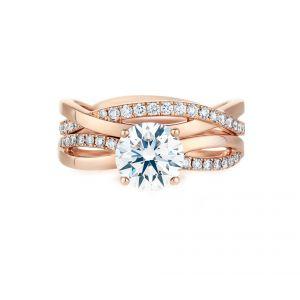 Кольцо с бриллиантом от 0.50 карат и дорожкой Твист по бокам