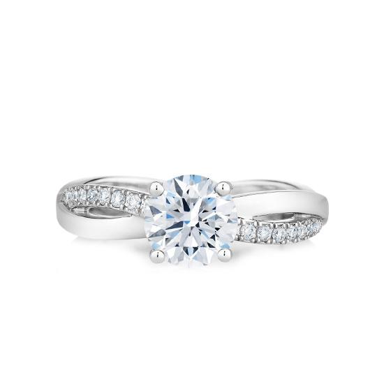 Кольцо с бриллиантом 0.5 карат и дорожкой Твист, Больше Изображение 1