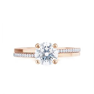 Кольцо с бриллиантом 0.50 карата из розового золота