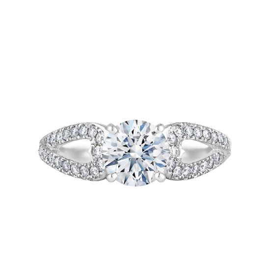Кольцо с бриллиантом и лепестками паве, Больше Изображение 1