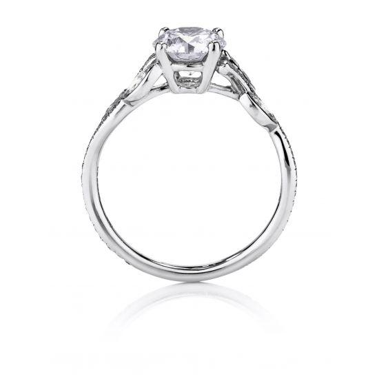 Кольцо с бриллиантом и веточками из бриллиантов по бокам,  Больше Изображение 2